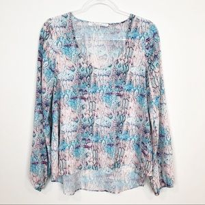 LOVERS + FRIENDS BLUE PINK LONG SLEEVE BLOUSE